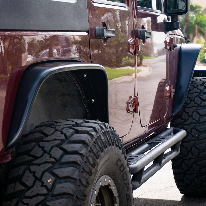 Jeep Wrangler Jk 2 4 Doors Unlimited 2007 2018 Front Rear 4 Piece Polyurethane Fender Flares Kit